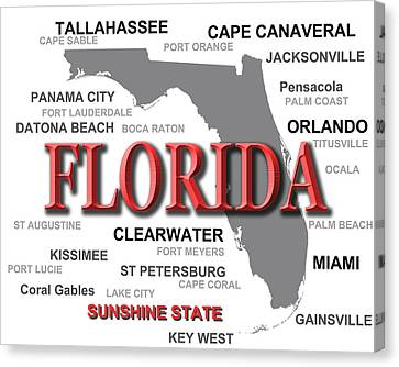 Florida State Pride Map Silhouette  Canvas Print by Keith Webber Jr