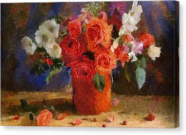 Canvas Print featuring the painting Flowers by Georgi Dimitrov