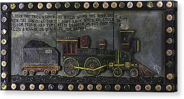 Canvas Print featuring the painting Folsom Prison Train by Eric Cunningham