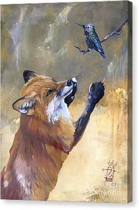 Indigenous Wildlife Canvas Print - Fox Dances For Hummingbird by J W Baker