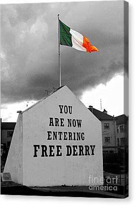 Free Derry Wall Canvas Print by Nina Ficur Feenan