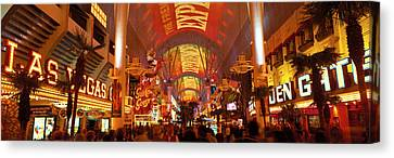 Fremont Street Experience Las Vegas Nv Canvas Print by Panoramic Images