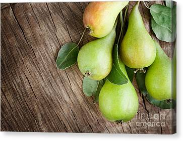 Freshly Harvested Pears Canvas Print by Mythja  Photography