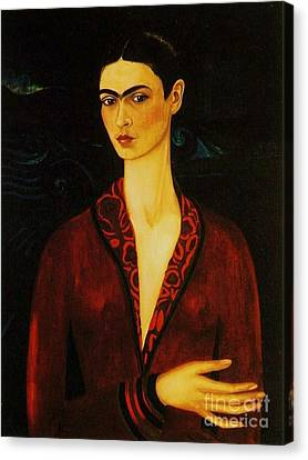 Frida Kahlo Self Portrait Canvas Print by Pg Reproductions