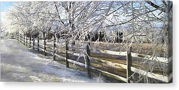 Fence Row Canvas Print - Frozen by Kathy Jennings
