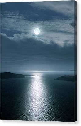 Full Moon Over The Sea Canvas Print