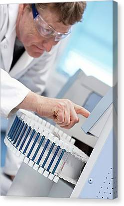 Gas Chromatography Analysis Canvas Print by Crown Copyright/health & Safety Laboratory Science Photo Library