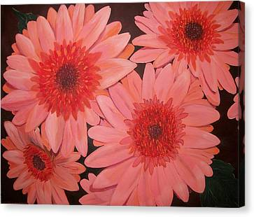 Canvas Print featuring the painting Gerber Daisies by Sharon Duguay