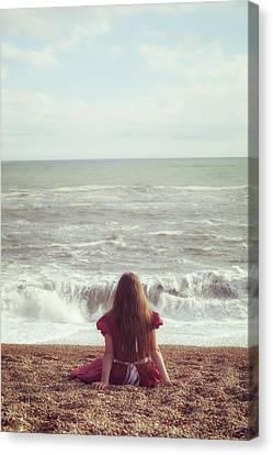 Girl On Beach Canvas Print by Joana Kruse