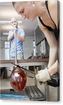Glassblowers At Work Canvas Print