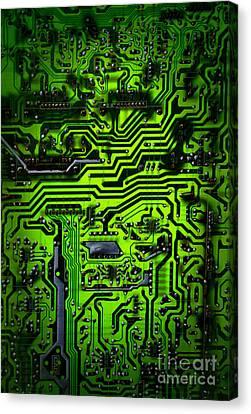 Glowing Green Circuit Board Canvas Print