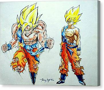 Goku In Action Canvas Print by Tanmay Singh