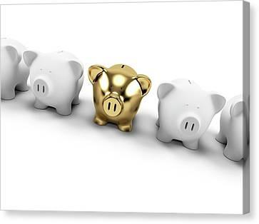 Piggy Bank Canvas Print - Gold And White Piggy Banks by Sebastian Kaulitzki