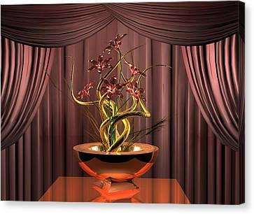 Gold Twist Red Flower Canvas Print by Louis Ferreira