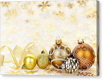 Golden Christmas Ornaments  Canvas Print