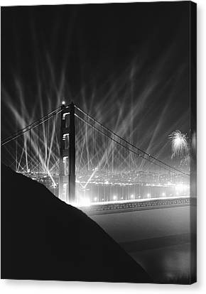 Golden Gate Bridge Opening Canvas Print by Underwood Archives