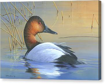 Canvas Print featuring the painting Golden Reflections by Mike Brown