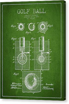 Golf Ball Patent Drawing From 1902 Canvas Print by Aged Pixel