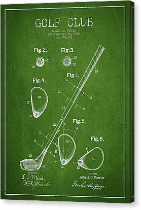 Golf Club Patent Drawing From 1910 Canvas Print