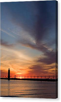 Grand Haven Lighthouse Canvas Print by Adam Romanowicz