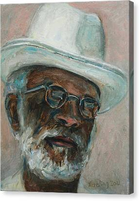 Gray Beard Under White Hat Canvas Print