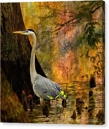 Canvas Print featuring the digital art Great Blue Heron Slowly Fishing by J Larry Walker