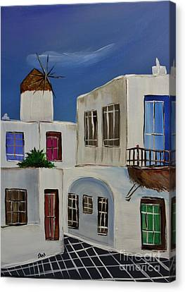 Canvas Print featuring the painting Greek Village by Janice Rae Pariza
