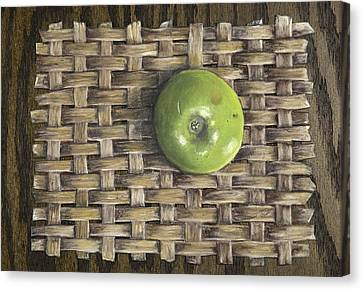 Canvas Print featuring the painting Green Apple On Basket by Claude Schneider