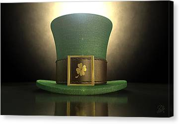 Green Leprechaun Shamrock Hat Canvas Print by Allan Swart