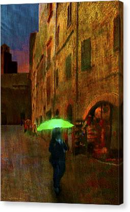 Green Umbrella Canvas Print by Patrick J Osborne