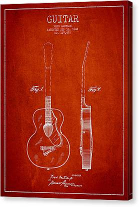Gretsch Guitar Patent Drawing From 1941 - Red Canvas Print by Aged Pixel