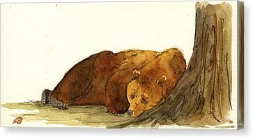 Grizzly Brown Bear Canvas Print by Juan  Bosco