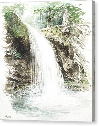 Canvas Print featuring the painting Grotto Falls by Bob  George