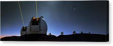 Keck Telescope Canvas Print - Guide Lasers Over Mauna Kea Observatories by Babak Tafreshi