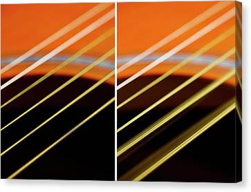 Guitar Strings At Rest And Vibrating Canvas Print by Science Photo Library