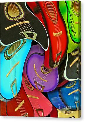 Guitar Swirl Canvas Print by Cheryl Del Toro