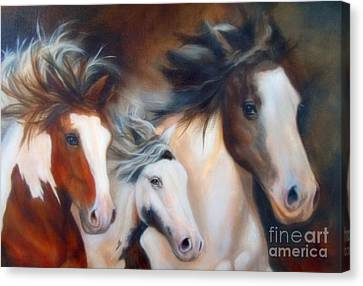 Canvas Print featuring the painting Gypsy Run by Karen Kennedy Chatham