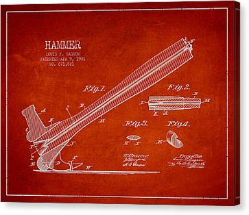 Hammer Patent Drawing From 1901 Canvas Print
