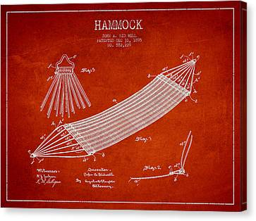 Resting Canvas Print - Hammock Patent Drawing From 1895 by Aged Pixel