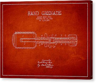 Hand Grenade Patent Drawing From 1916 Canvas Print by Aged Pixel
