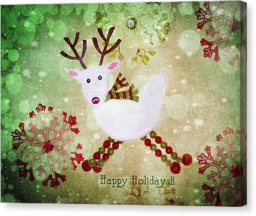 Happy Holidays Canvas Print by Rebecca Cozart