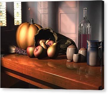 Canvas Print featuring the digital art Harvest Still Life by Jayne Wilson