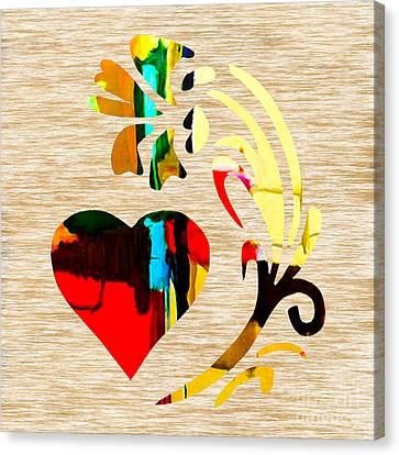 Heart And Flowers Canvas Print by Marvin Blaine