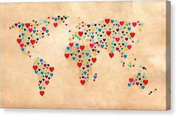 Heart Map  Canvas Print