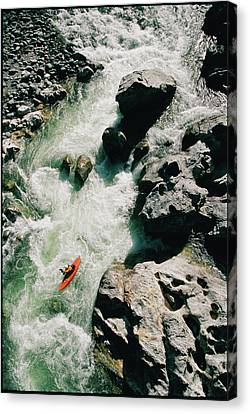 High Angle View Of A Person Kayaking Canvas Print