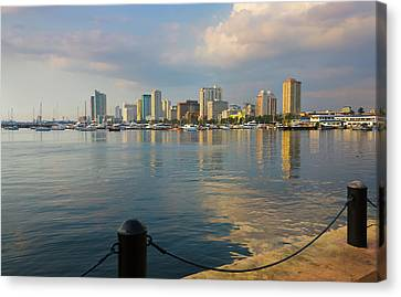 High Rises Along The Waterfront, Manila Canvas Print by Keren Su