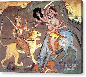 Hindu Goddess Durga Fights Mahishasur Canvas Print by Photo Researchers