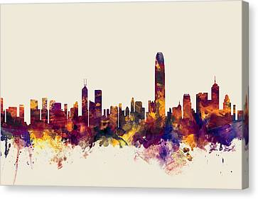 Hong Kong Skyline Canvas Print by Michael Tompsett