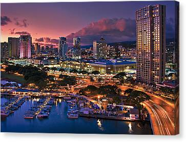 Canvas Print featuring the photograph Honolulu City Lights by Hawaii  Fine Art Photography