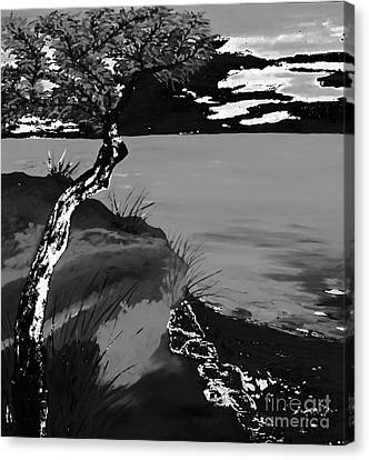 Horizon In Black And White Canvas Print